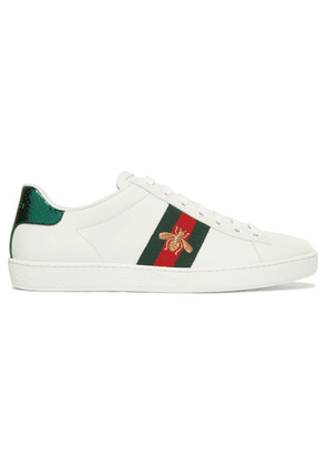 Gucci - Ace Watersnake-trimmed Embroidered Leather Sneakers - White