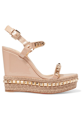 74bd2f31a046 Christian Louboutin - Cataclou 120 Studded Patent-leather Wedge Platform  Sandals - Beige