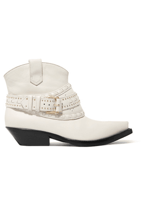 Zimmermann - Studded Leather Ankle Boots - White