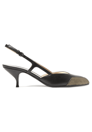 Bottega Veneta - Two-tone Leather Slingback Pumps - Black