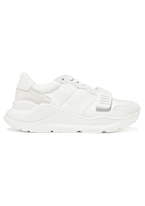 Burberry - Rubber-trimmed Suede, Neoprene And Leather Sneakers - White