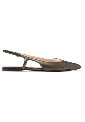 Bottega Veneta - Two-tone Leather Slingback Flats - Metallic