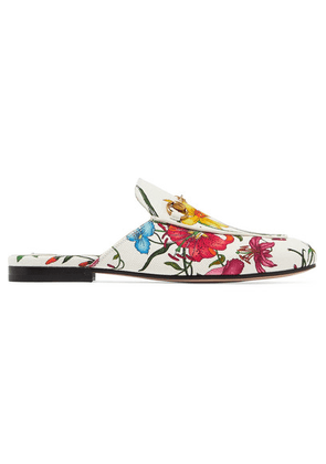 Gucci - Princetown Horsebit-detailed Floral-print Canvas Slippers - White