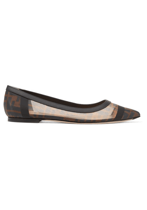 Fendi - Colibri Leather-trimmed Logo-print Mesh Point-toe Flats - Brown