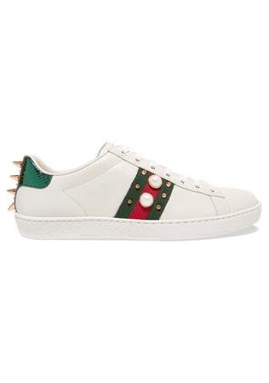 Gucci - Ace Faux Pearl-embellished Metallic Watersnake-trimmed Leather Sneakers - White