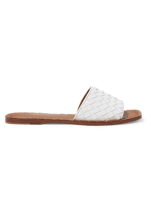 Bottega Veneta - Intrecciato Leather Slides - White