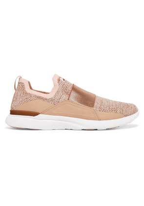 APL Athletic Propulsion Labs - Techloom Bliss Stretch-faille Trimmed Metallic Mesh And Neoprene Sneakers - Pink