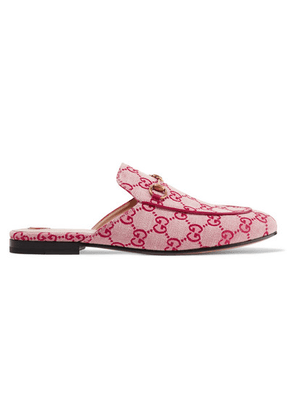 Gucci - Princetown Horsebit-detailed Logo-woven Canvas Slippers - Red