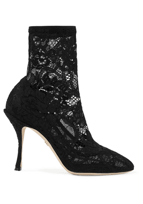 Dolce & Gabbana - Stretch-lace And Tulle Sock Boots - Black