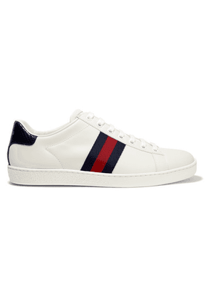 Gucci - Ace Watersnake And Canvas-trimmed Leather Sneakers - White