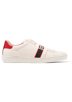 Gucci - Ace Jacquard-trimmed Logo-embossed Leather Sneakers - Cream
