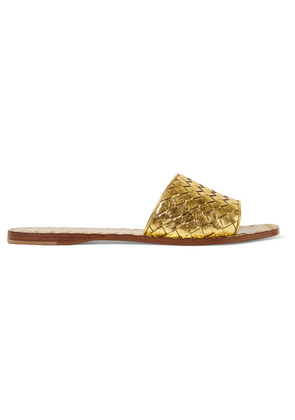 Bottega Veneta - Metallic Intrecciato Leather Slides - Gold
