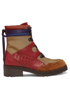 Bottega Veneta - Intrecciato Color-block Canvas, Textured-leather And Suede Ankle Boots - IT38