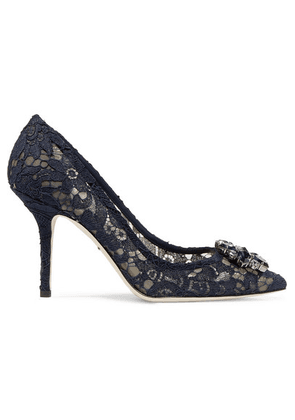 Dolce & Gabbana - Crystal-embellished Corded Lace Pumps - Navy