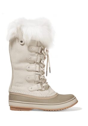 Sorel - Joan Of Arctic Faux Fur-trimmed Waterproof Suede And Rubber Boots - Cream