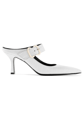 Erdem - Esmie Croc-effect Glossed-leather Mules - White