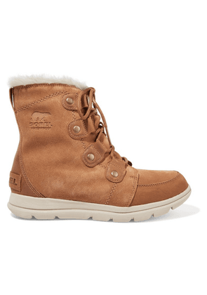 Sorel - Explorer Joan Faux Fur-trimmed Waterproof Suede And Leather Ankle Boots - Light brown