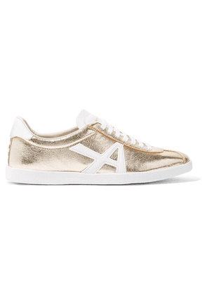 Aquazzura - The A Metallic Textured-leather Sneakers - Gold