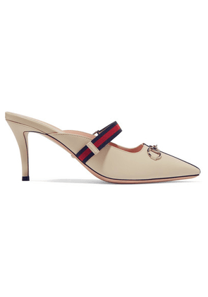 Gucci - Emma Horsebit-detailed Grosgrain-trimmed Leather Mules - White