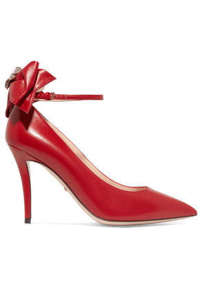 Gucci - Queen Margaret Embellished Leather Mary Jane Pumps - Red
