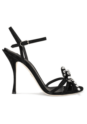 Dolce & Gabbana - Crystal And Bow-embellished Suede Sandals - Black