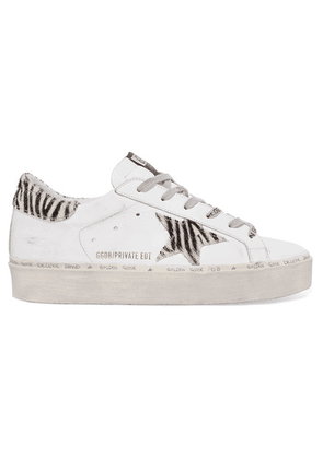 Golden Goose Deluxe Brand - Hi Star Distressed Leather And Zebra-print Calf Hair Platform Sneakers - White