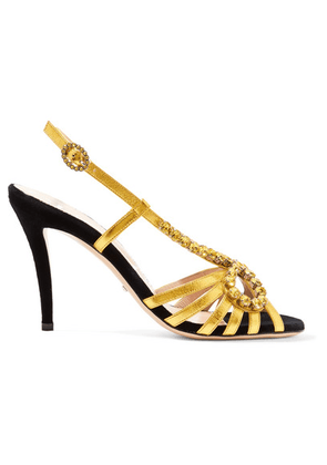 Gucci - Zephyra Crystal-embellished Metallic Leather Sandals - Gold