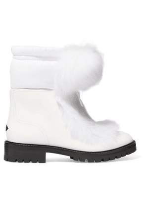 Jimmy Choo - Glacie Shearling Pompom-embellished Leather Ankle Boots - White