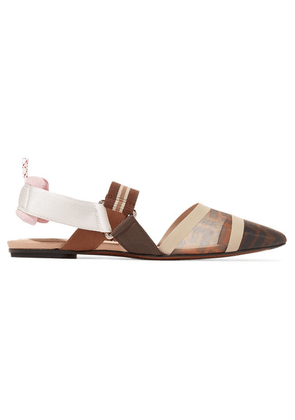 Fendi - Colibrì Logo-print Mesh And Rubber Slingback Point-toe Flats - Brown