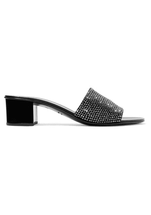 Giuseppe Zanotti - Roll Crystal-embellished Suede Mules - Black