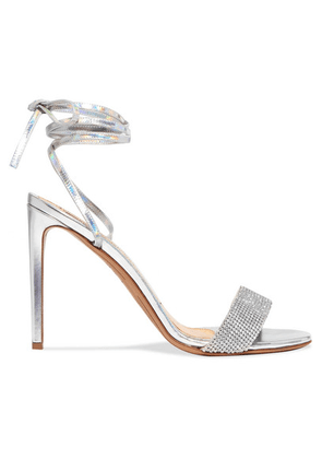 Alexandre Vauthier - Kim Swarovski Crystal-embellished Iridescent Leather Sandals - Silver