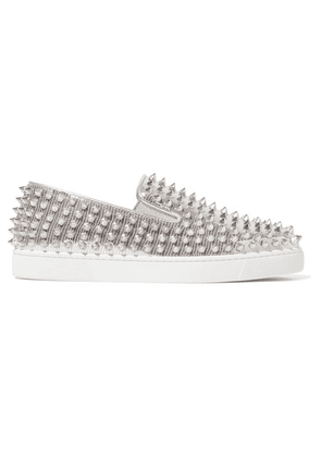 Christian Louboutin - Roller Boat Spiked Metallic Textured-leather Slip-on Sneakers - Silver
