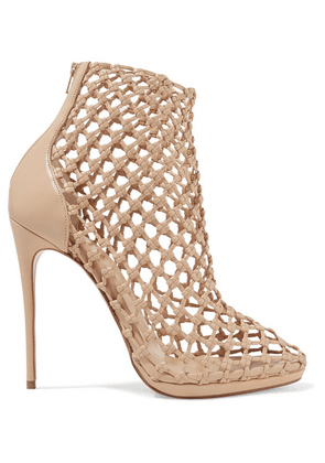 Christian Louboutin - Porligat 120 Woven Leather Ankle Boots - Beige