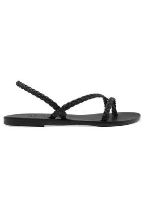 Ancient Greek Sandals - Yianna Braided Leather Slingback Sandals - Black