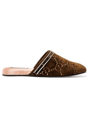 Gucci - Rogue Embellished Logo-jacquard Slippers - Brown