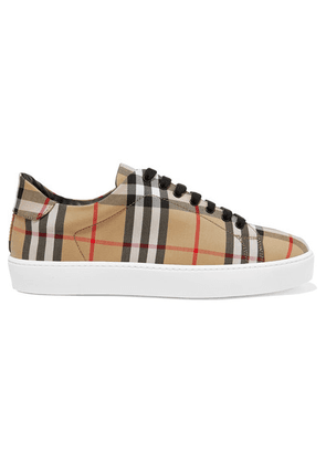 Burberry - Checked Canvas Sneakers - Beige