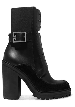 Givenchy - Aviator Suede And Mesh-trimmed Leather Ankle Boots - Black