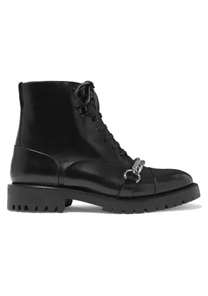 Burberry - Barke Chain-trimmed Leather Ankle Boots - Black