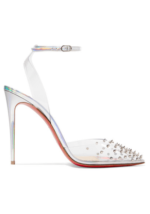 Christian Louboutin - Spikoo 100 Spiked Pvc And Iridescent Leather Pumps - Metallic