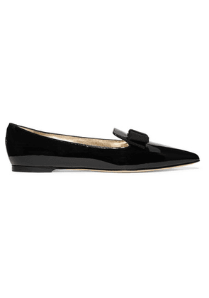 Jimmy Choo - Gala Grosgrain-trimmed Patent-leather Point-toe Flats - Black