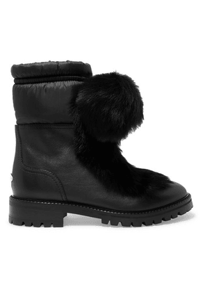 Jimmy Choo - Glacie Pompom-embellished Shearling And Shell-trimmed Leather Ankle Boots - Black