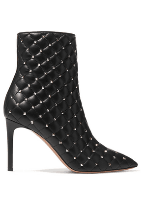 Valentino - Valentino Garavani The Rockstud Quilted Leather Ankle Boots - Black