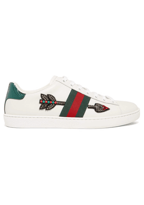 Gucci - Ace Watersnake-trimmed Crystal-embellished Leather Sneakers - White