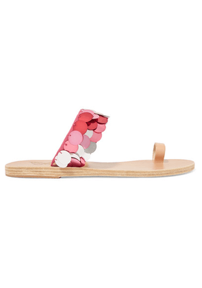 Ancient Greek Sandals - Thraki Embellished Canvas And Leather Sandals - Fuchsia
