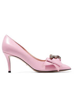 Gucci - Queen Margaret Embellished Leather Pumps - Baby pink
