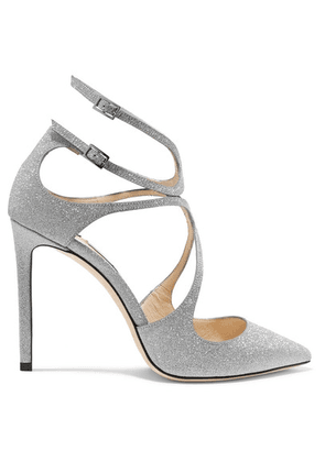 Jimmy Choo - Lancer 100 Glittered Leather Pumps - Silver
