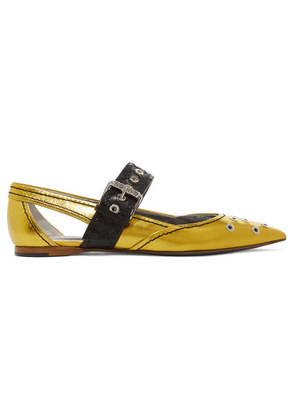 Bottega Veneta - Cutout Embellished Metallic Leather Flats - Gold