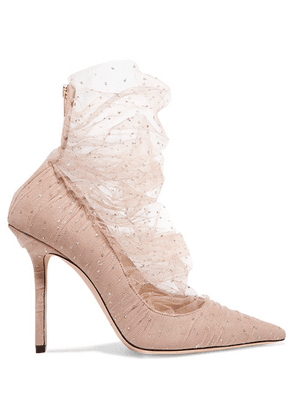 Jimmy Choo - Lavish 100 Glittered Tulle And Suede Pumps - Antique rose