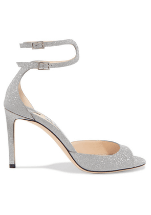 Jimmy Choo - Lane 85 Glittered Leather Sandals - Silver