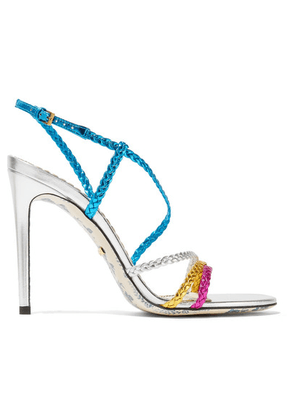 Gucci - Haines Braided Metallic Leather Slingback Sandals - Blue